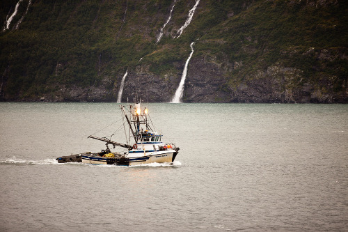 a fishing trawler on the water